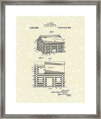Toy Cabin 1920 Patent Art Framed Print by Prior Art Design