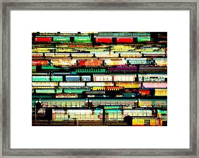 Tracks Of Trains Framed Print by Elaine Plesser
