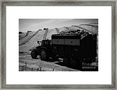 Tractos Towing Trailer Full Of Grass For Silage Production Irish Field Ireland Framed Print by Joe Fox