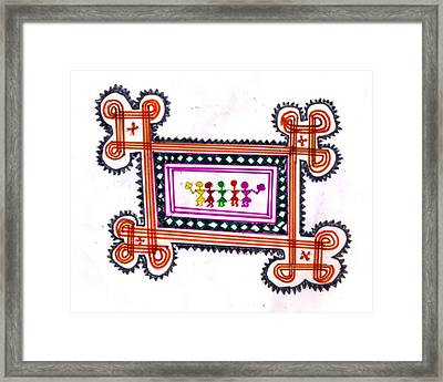 Tradition Art-aunties In Rangoli Framed Print by Poornima M