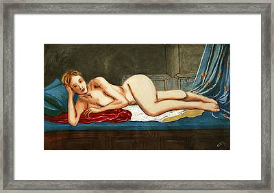 Traditional Modern Female Nude Reclining Odalisque After Ingres Framed Print by G Linsenmayer