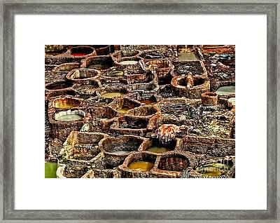 Traditional Moroccan Leather Tannery  Framed Print by Alexandra Jordankova