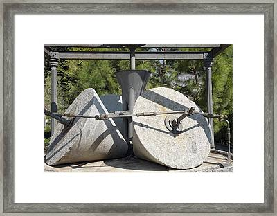 Traditional Olive Millstones, Spain Framed Print by Sheila Terry