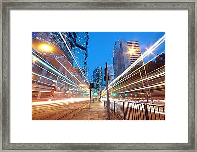 Traffic Night Framed Print by Cozyta