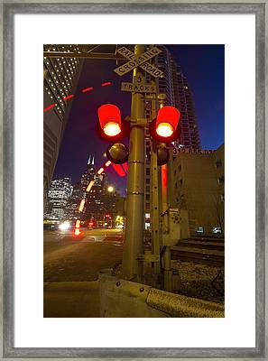 Train Crossing Lights At Dusk Framed Print by Sven Brogren