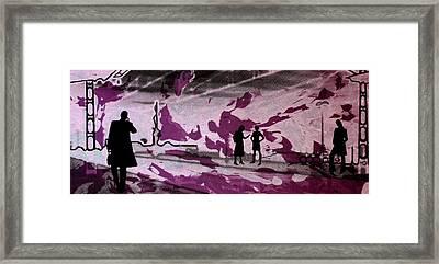 Train Station - Siebdruck Reise Bahn Kunst Framed Print by Arte Venezia