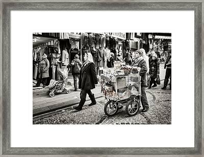 Traveling Vendor Framed Print by Joan Carroll