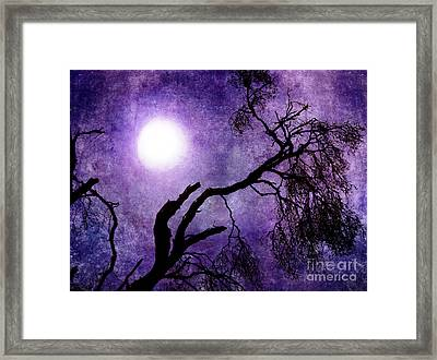 Tree Branch In Purple Moonlight Framed Print by Laura Iverson