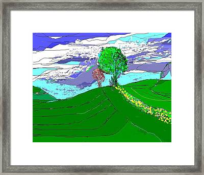 Tree On The Hill Framed Print by Alberto Lacoius-Petruccelli