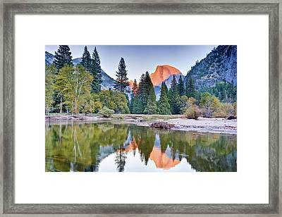 Trees And Mountain Reflection In River Framed Print by Inspirational Images by Ken Hornbrook