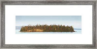 Trees Covering An Island On Lake Framed Print by Susan Dykstra