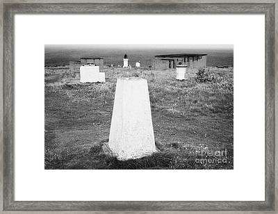 Triangulation Point And Old Weather Station At Dunnet Head Most Northerly Point Of Mainland Britain  Framed Print by Joe Fox