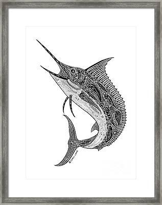 Tribal Marlin Framed Print by Carol Lynne