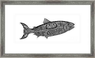 Tribal Salmon Framed Print by Carol Lynne