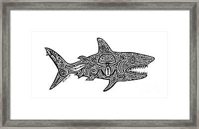 Tribal Shark Framed Print by Carol Lynne