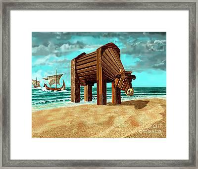 Trojan Cow Framed Print by Russell Kightley