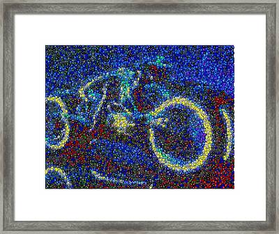 Tron Light Cycle Skittles Mosaic Framed Print by Paul Van Scott