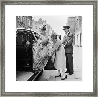 Trouble With A Taxi Framed Print by Grundy
