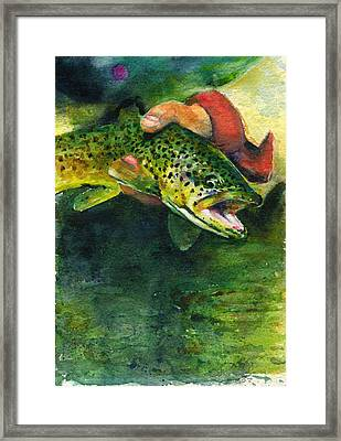 Trout In Hand Framed Print by John D Benson