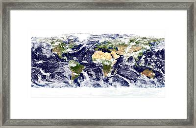 True-color Image Of The Entire Earth Framed Print by Stocktrek Images