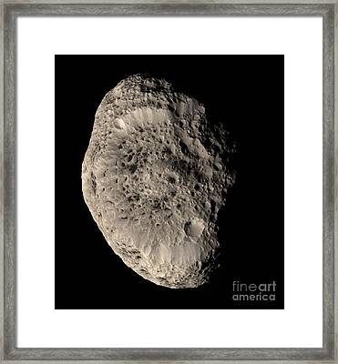 True Color Mosaic Of Saturns Moon Framed Print by Stocktrek Images
