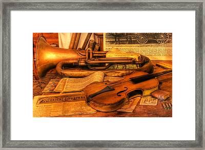 Trumpet And Stradivarius At Rest - Violin - Nostalgia - Vintage - Music -instruments  Framed Print by Lee Dos Santos