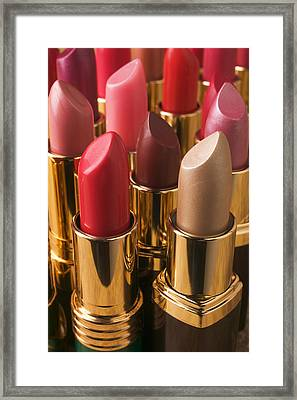 Tubes Of Lipstick Framed Print by Garry Gay