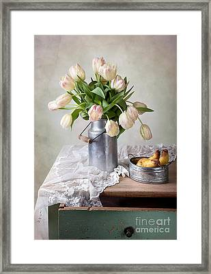 Tulips And Pears Framed Print by Nailia Schwarz