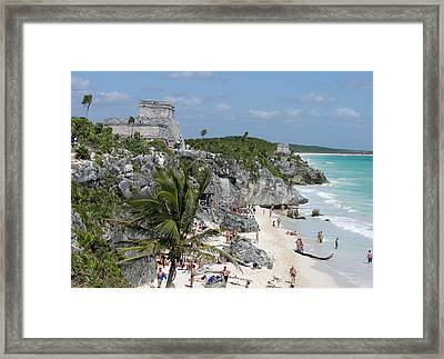 Tulum Ruins And Beach Framed Print by Keith Stokes