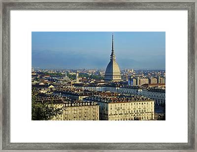 Turin, Cityscape With The Mole Antonelliana Framed Print by Bruno Morandi