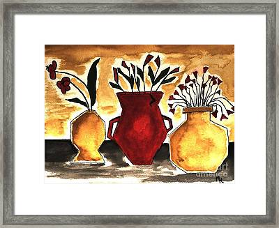 Tuscan Pottery With Flowers Ll Framed Print by Marsha Heiken