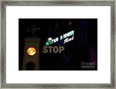 Twilight Zone Tower Of Terror Stop Sign Hollywood Studios Walt Disney World Prints Watercolor Framed Print by Shawn O'Brien