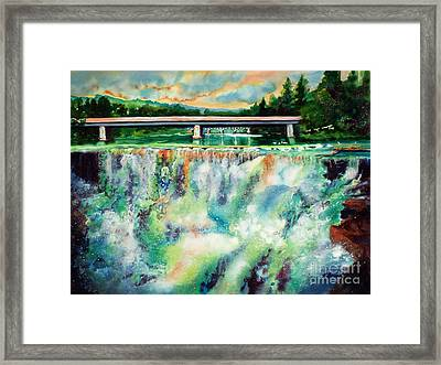 Two Bridges And A Falls 2          Framed Print by Kathy Braud