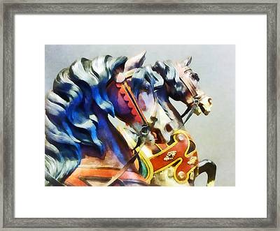 Two Carousel Horses Closeup Framed Print by Susan Savad