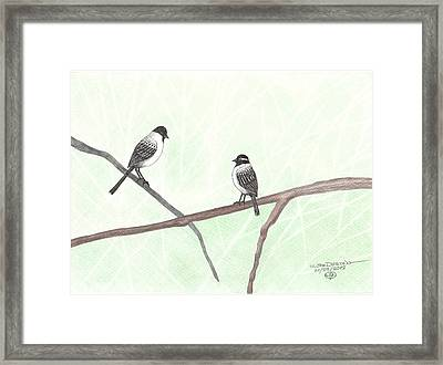 Two Chickadees Framed Print by William Deering