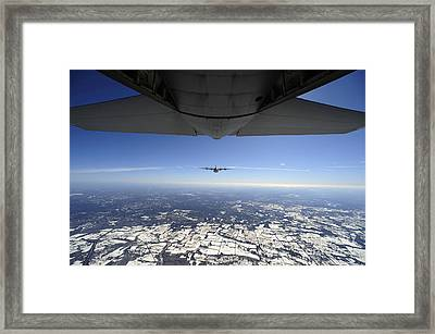 Two Ec-130j Commando Solo Aircraft Fly Framed Print by Stocktrek Images