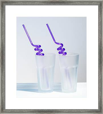 Two Empty Glasses Framed Print by Amanda Elwell