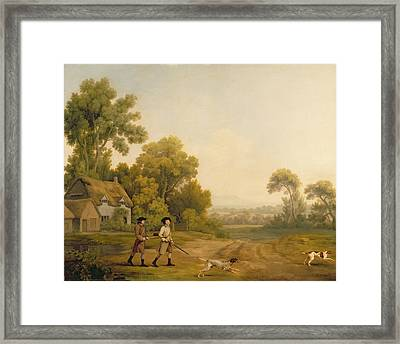 Two Gentlemen Going A Shooting Framed Print by George Stubbs