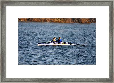Two Girls Rowing Framed Print by Bill Cannon