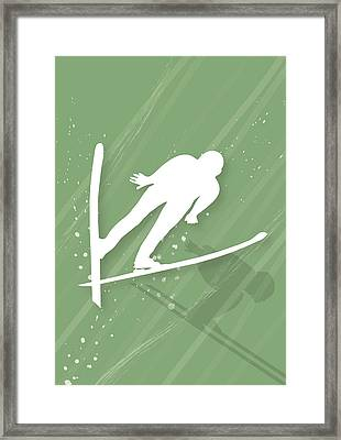 Two Men Ski Jumping Framed Print by Meg Takamura
