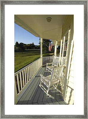 Two Rocking Chairs On A Sunlit Porch Framed Print by Scott Sroka