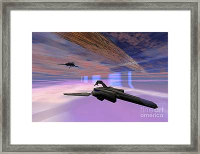 Two Starships Warp Along Space Enegy Framed Print by Corey Ford