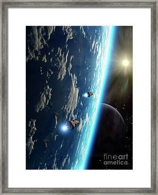 Two Survey Craft Orbit A Terrestrial Framed Print by Brian Christensen