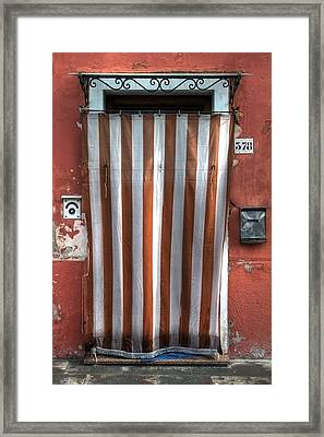 Typical Door In Southern Europe With A Curtain Framed Print by Joana Kruse