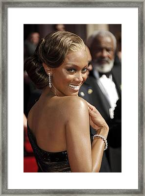 Tyra Banks At Arrivals For 58th Annual Framed Print by Everett
