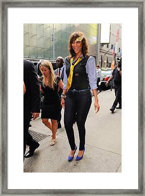 Tyra Banks, Enters The Good Morning Framed Print by Everett
