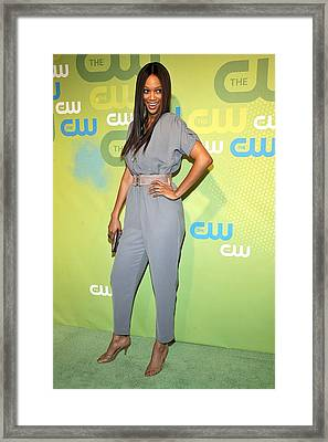 Tyra Banks Wearing A Marley Jumpsuit Framed Print by Everett