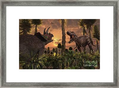 Tyrannosaurus Rex And Triceratops Meet Framed Print by Mark Stevenson