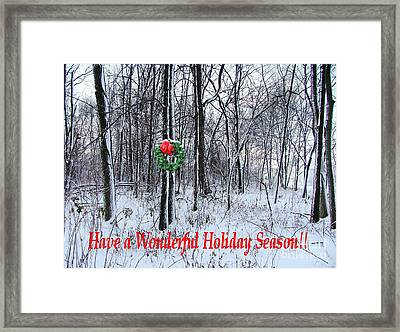 Tyra's Woods At Christmas Framed Print by Julie Dant
