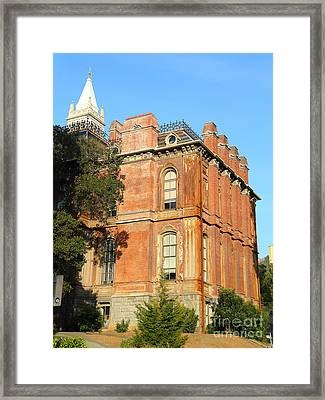 Uc Berkeley . South Hall . Oldest Building At Uc Berkeley . Built 1873 . The Campanile In The Back Framed Print by Wingsdomain Art and Photography